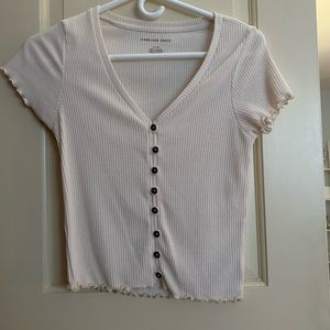 American Eagle Cropped Cream Button Up Top